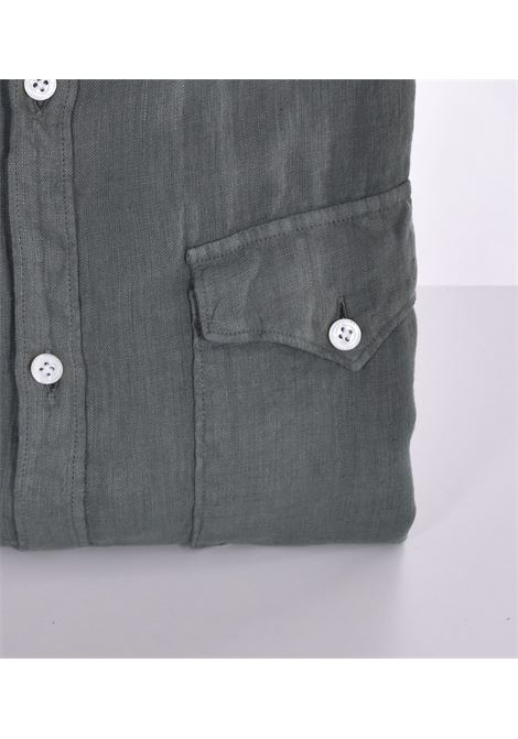 Aglini mario arkansas green linen shirt AGLINI   Shirts   6205901020