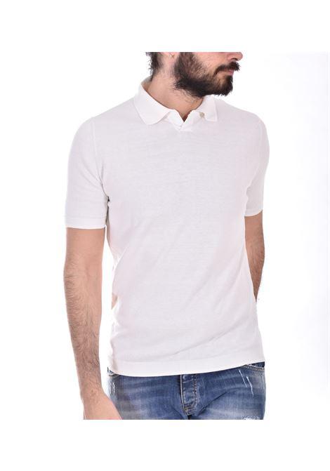 H953 white silk cotton V polo shirt H953 | polo | HS323602