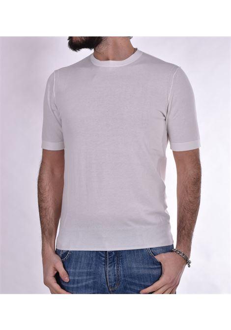 White Hosio knitted t-shirt HOSIO | T-shirts | 100M0308