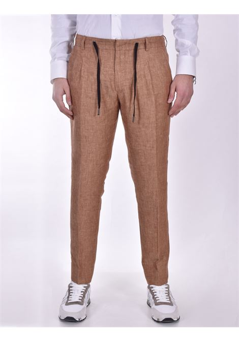 Hosio linen drawstring camel trousers HOSIO | Trousers | 21404P2032