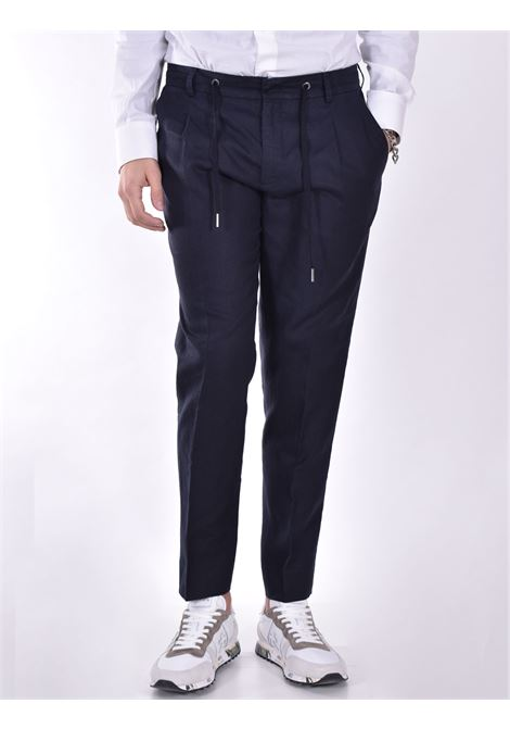 Hosio linen blue drawstring trousers HOSIO | Trousers | 21404P2040