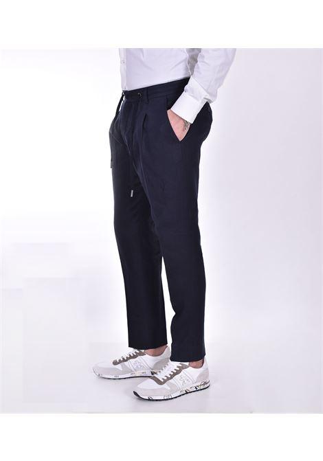 Hosio linen blue drawstring trousers HOSIO | Trousers | 21404P2040