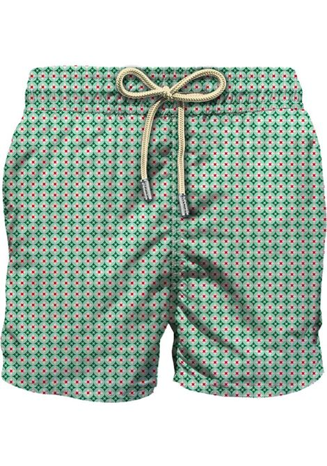 MC2 rhomboid cross green white swim shorts MC2 SAINT BARTH | Swimsuits | RMCR5701