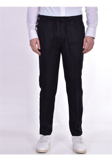Officina 36 trousers in nevio black linen OFFICINA 36 | Trousers | 026620826601
