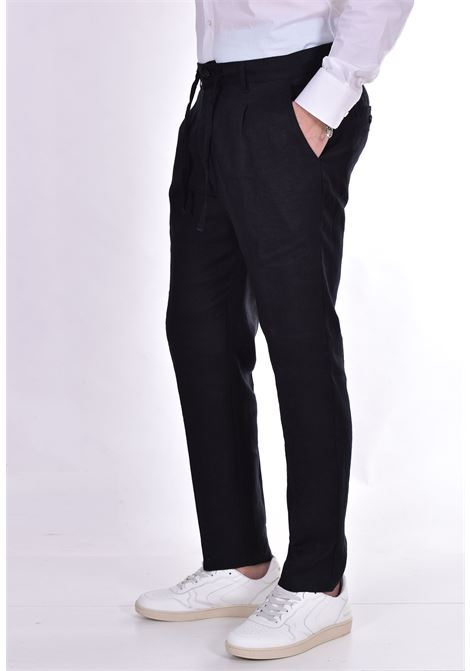 Officina 36 trousers in nevio black linen OFFICINA 36 | 026620826601