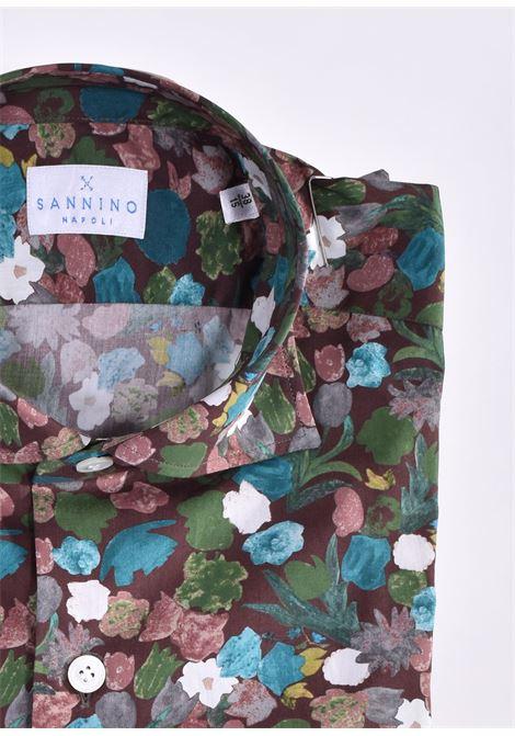 Sannino brown flower shirt SANNINO | Shirts | A80303