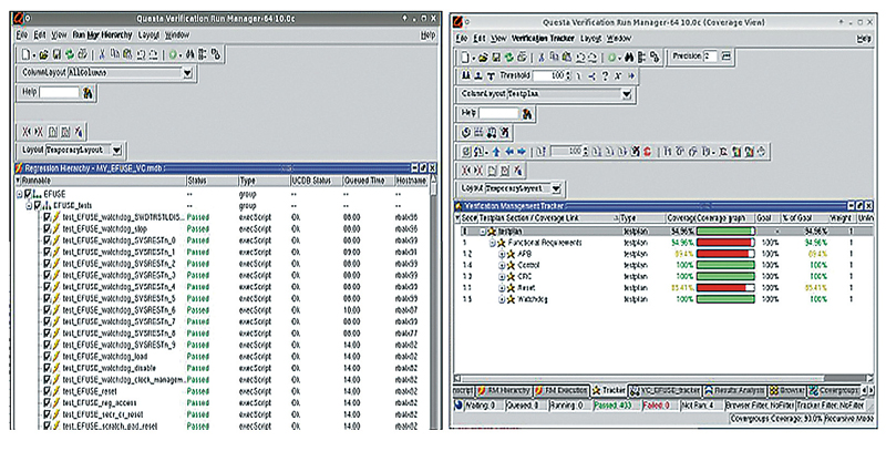 Figure 2 Questa GUI showing regression test list selection and test plan coverage results for Efuse