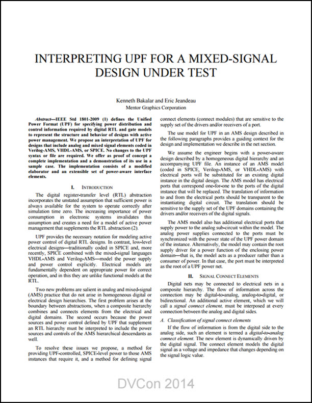 Interpreting UPF For A Mixed-Signal Design Under Test