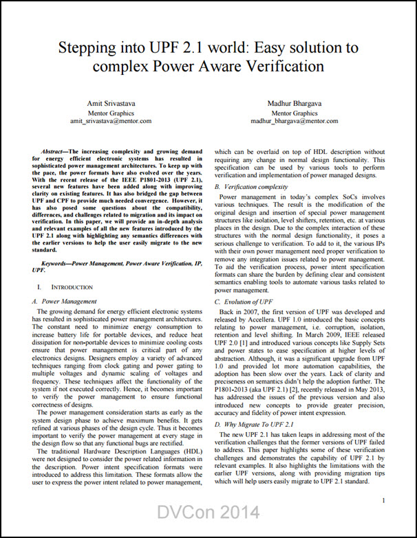 Stepping into UPF 2.1 World - Easy Solution to Complex Power Aware Verification