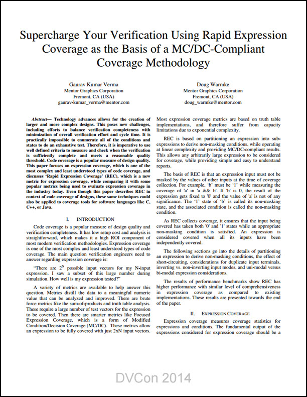 Supercharge Your Verification Using Rapid Expression Coverage as the Basis of a MC/DC-Compliant Coverage Methodology