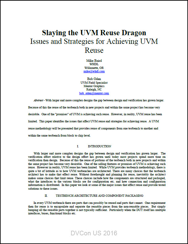 Slaying the UVM Reuse Dragon - Issues and Strategies for Achieving UVM