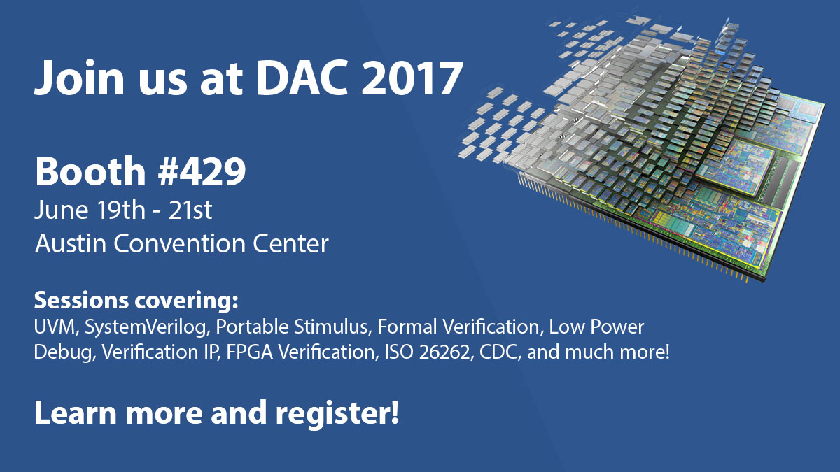 Verification Academy at DAC 2017 in Austin, TX - Booth 429