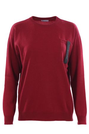 Cashmere crew neck with jewellery