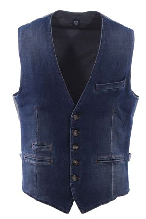 Ribbed denim vest