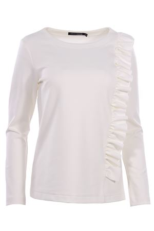 Crew neck sweatshirt with ruffles