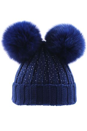 Hat with pom pon and rhinestones