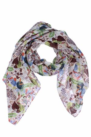 Wool scarf with floreal pattern