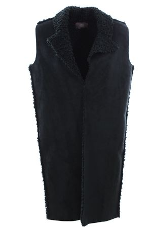 Long vest in eco sheepskin