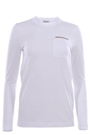 Long-sleeved cotton t-shirt with jewellery BRUNELLO CUCINELLI | 8 | M0T18BB210C159