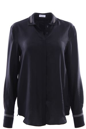 Silk shirt with jewellery applications BRUNELLO CUCINELLI | 5032279 | MA929NT816C101