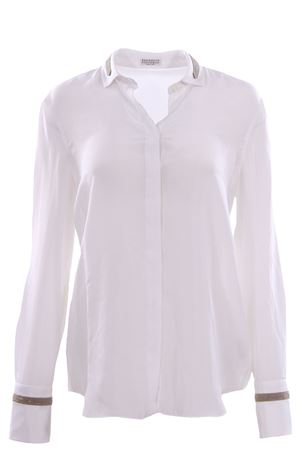 Silk shirt with jewellery applications