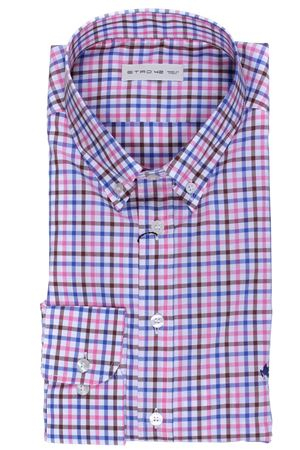 Checked cotton slim shirt