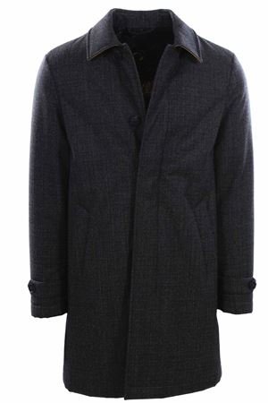Wool trench coat tweed effect