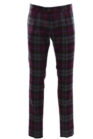 Virgin wool check pants