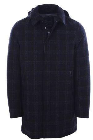 Wool check raincoat