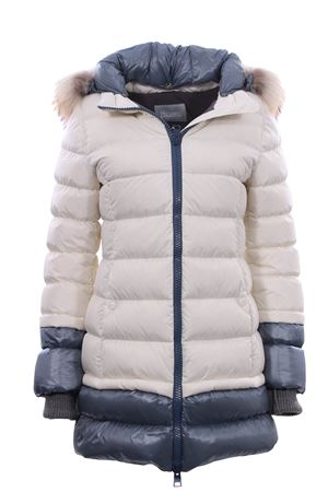 Two-tone down jacket with hood