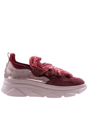 Velvet and leather sneakers