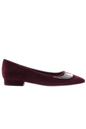 Suede ballerinas with application