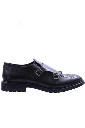 Leather shoes with double buckle