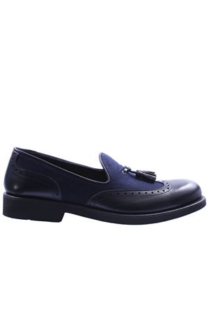 Leather and flannel loafer