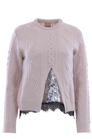 Crew neck with lace and sequins NUDE | -161048383 | 110104701