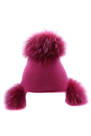 Earflap with fox pon pon