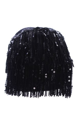 Fringed and sequined wool and cashmere hat