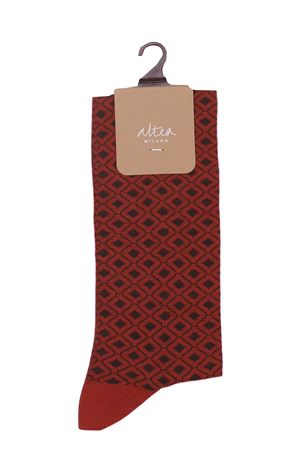 Long socks with geometric pattern