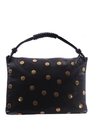 Medium leather bag with studs