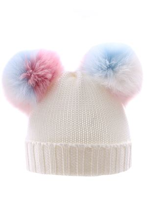 Hat with multicolor pompom