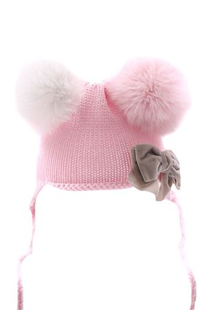Hat with two tone pompom