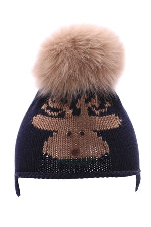 Hat with fox pompom