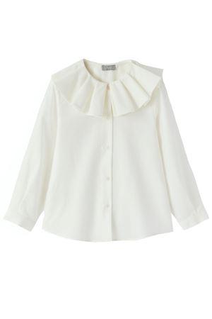 Camicia in cotone con rouches al collo IL GUFO | 5032279 | CL210C0019100
