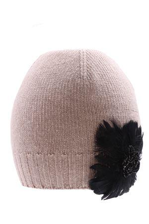Cappello con applicazione piume in lana e cashmere REGINA | 5032304 | 10807LCECRU