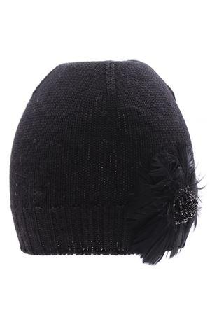 Cappello con applicazione piume in lana REGINA | 5032304 | 10807LNERO
