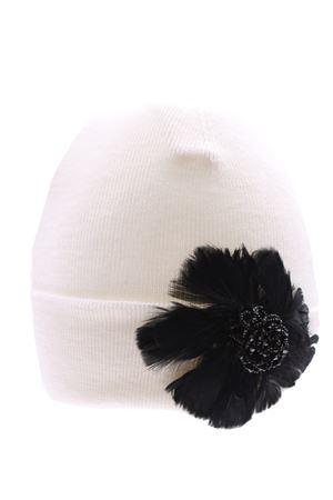 Cappello con applicazione piume in lana  REGINA | 5032304 | 10807LRBIANCO