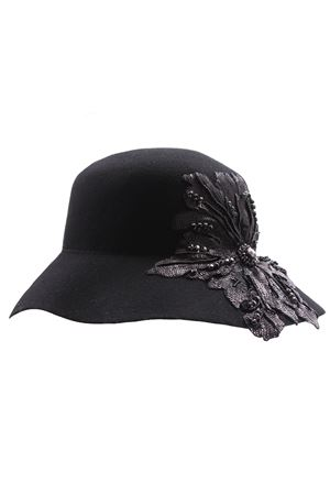 Cappello falda larga con fiore paillettes REGINA | 5032304 | 10904RNERO