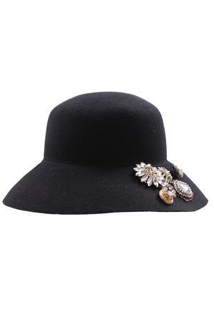 Cappello falda larga in lana con bottoni gioiello REGINA | 5032304 | 10905RNERO