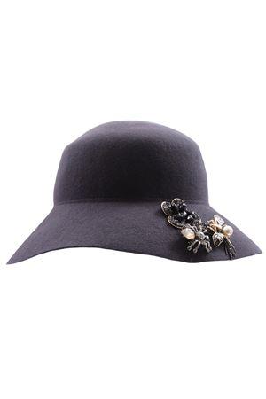 Cappello falda larga in lana con bottoni gioiello e spille REGINA | 5032304 | 10914RTOPO