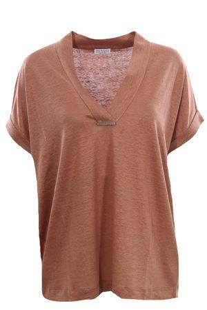 T-shirt in lino e seta BRUNELLO CUCINELLI | 8 | MF982BQ302C9486
